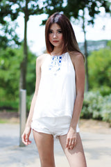 *BACKORDER* (TOPAZ) MONTIF EMBROIDERY TOP IN WHITE - TOPAZETTE