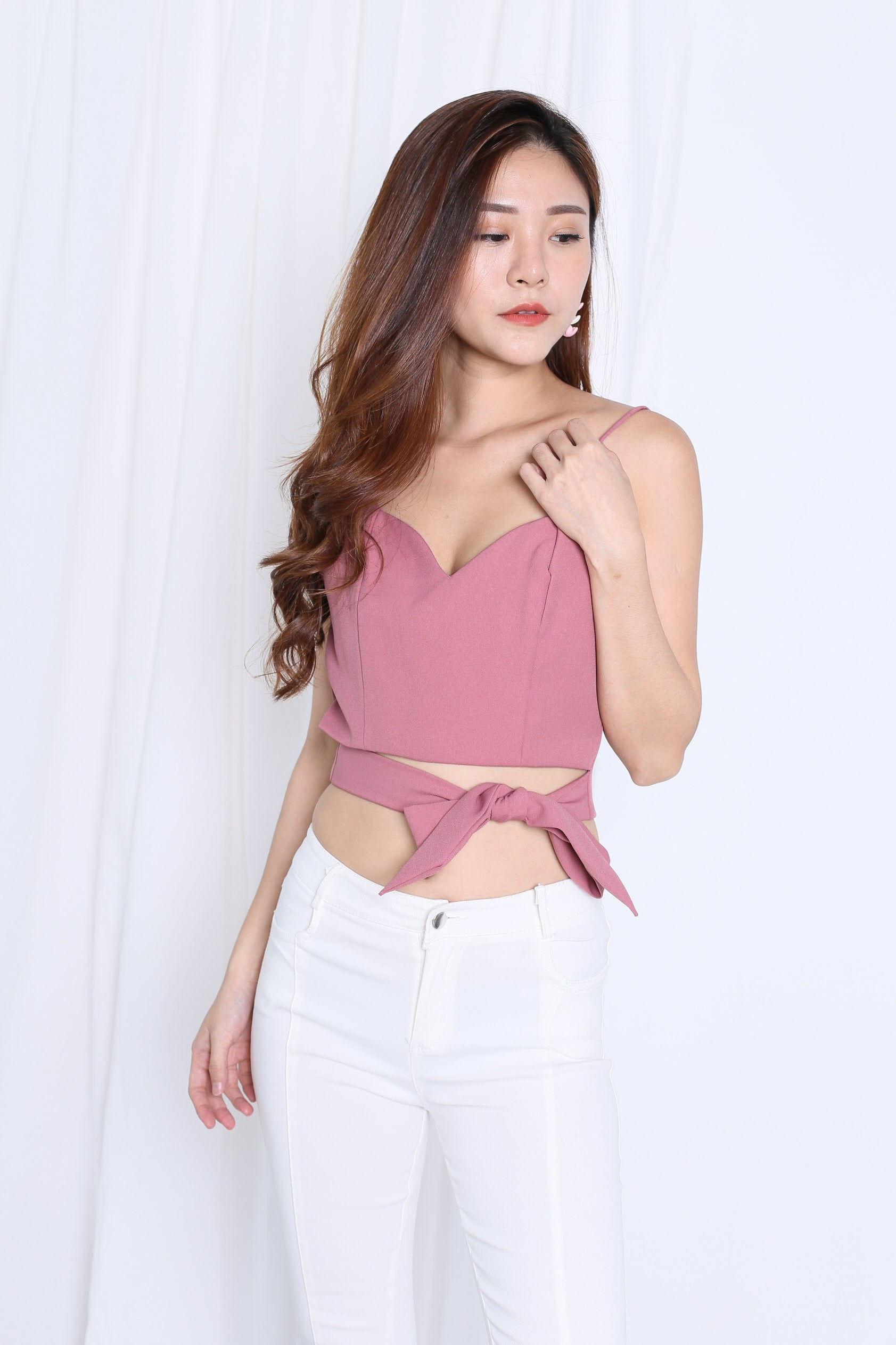 EVIA RIBBON WRAP CROP TOP IN PINK