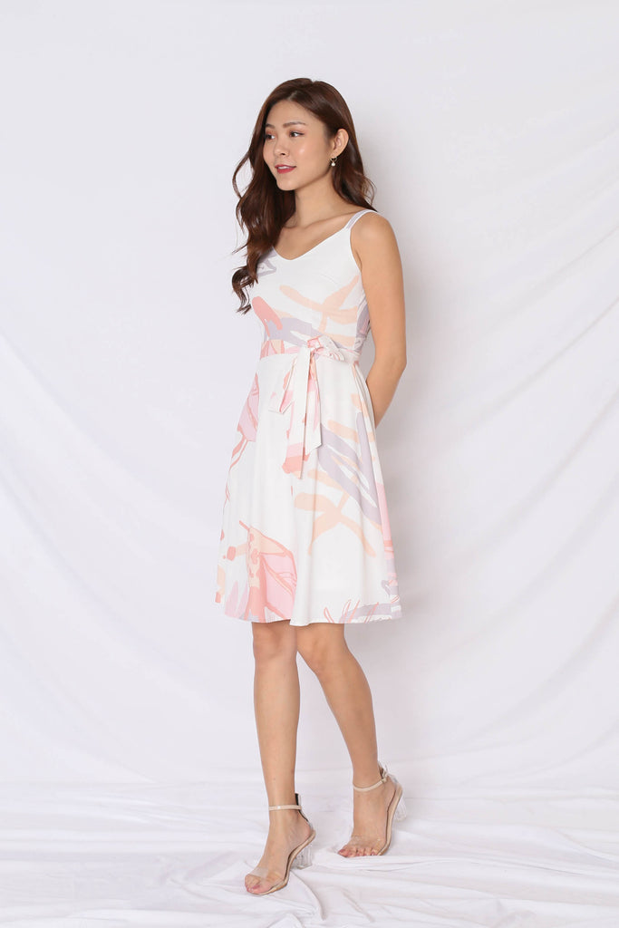 *TPZ* (PREMIUM) FLEURETTE SKATER DRESS IN WHITE - TOPAZETTE