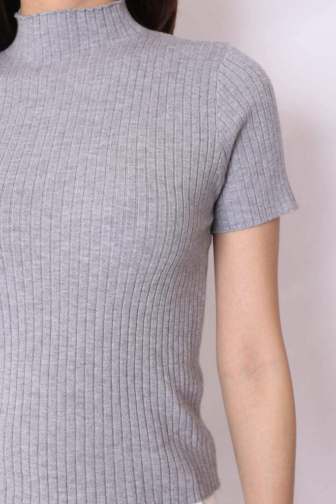 RYLEE HIGH NECK SOFT KNIT TOP IN GREY