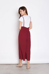 MERLY DUNGAREE JUMPERUIT SET IN BURGUNDY