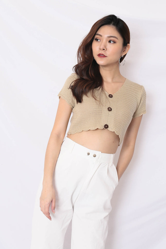 NOVA WOVEN KNIT TOP IN SAND