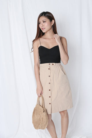GABBY BUTTON DOWN MIDI SKIRT IN KHAKI