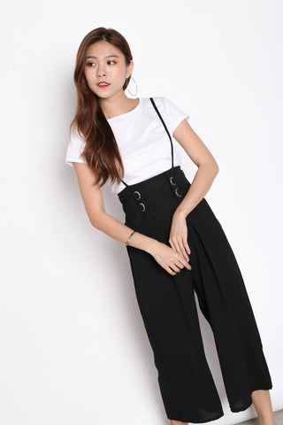 MERLY DUNGAREE JUMPERUIT SET IN BLACK