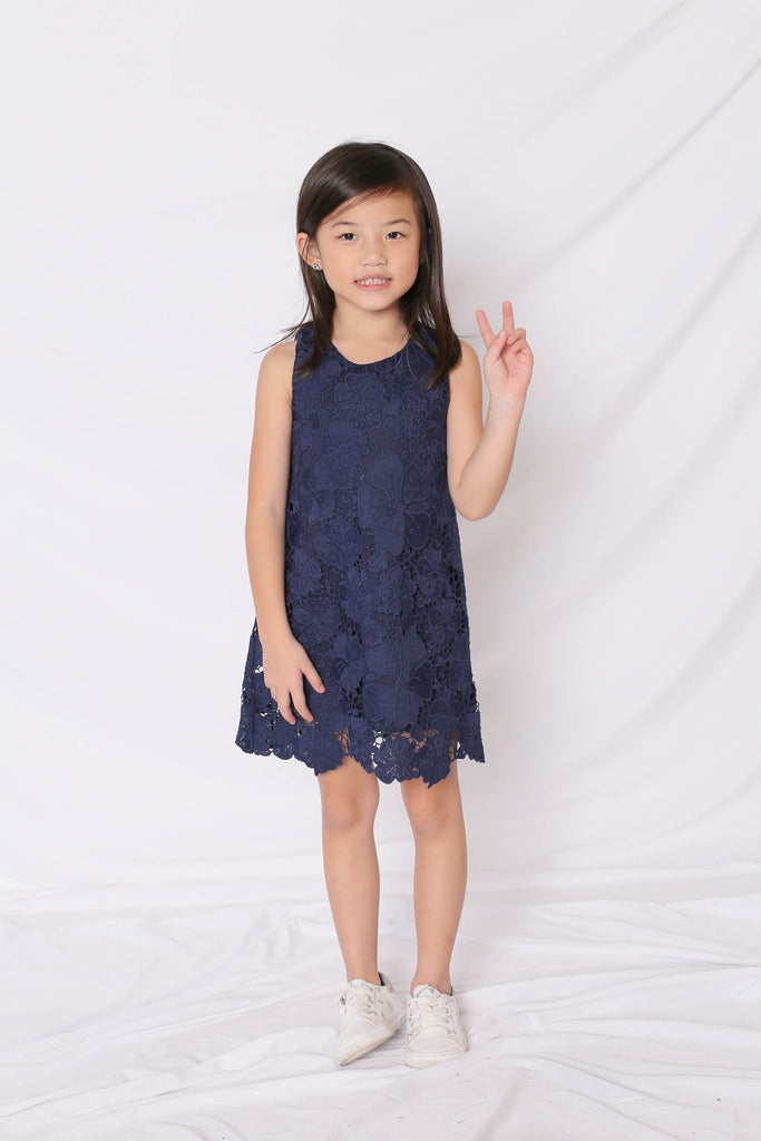 *LITTLE TOPAZETTE* NOVA CROCHET DRESS IN NAVY - TOPAZETTE