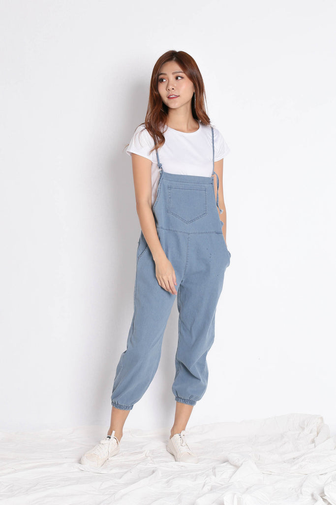 RAEGAN DUNGAREE JUMPSUIT SET (LIGHT DENIM) - TOPAZETTE