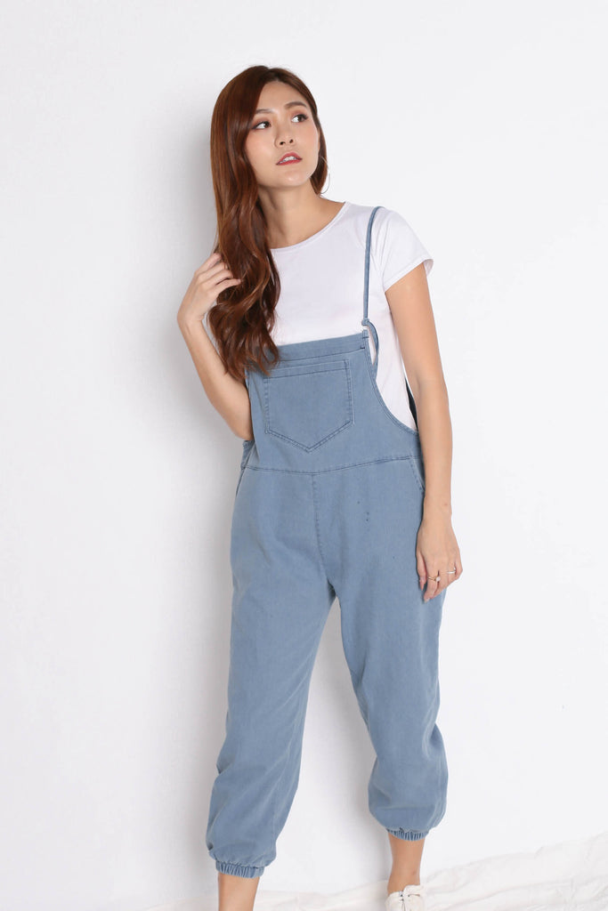 RAEGAN DUNGAREE JUMPSUIT SET (LIGHT DENIM)