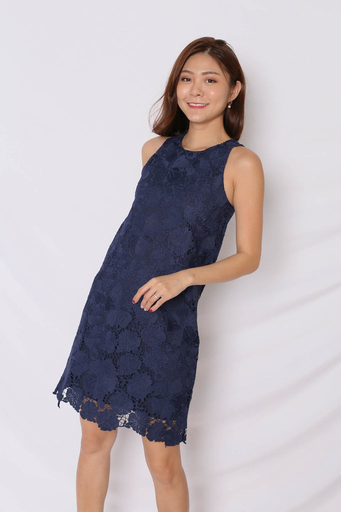 (PREMIUM) NOVA CROCHET DRESS IN NAVY - TOPAZETTE