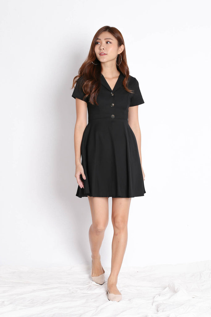 *TPZ* (PREMIUM) LAURYN TUXEDO SKATER DRESS IN BLACK - TOPAZETTE