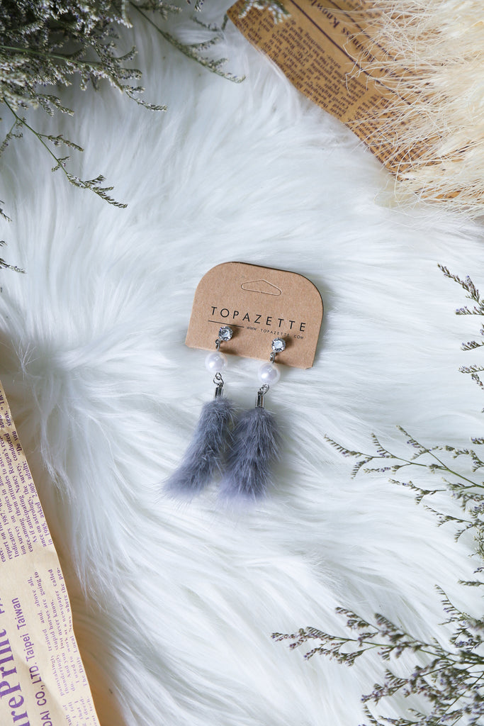 KAIA FUR EARRINGS - TOPAZETTE