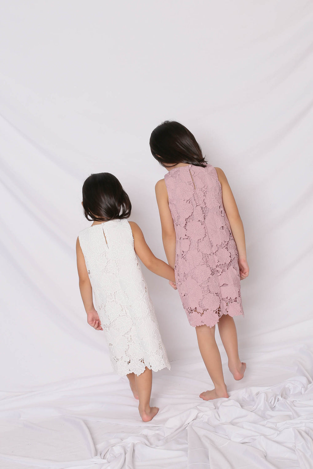 *LITTLE TOPAZETTE* NOVA CROCHET DRESS IN DUSTY PINK