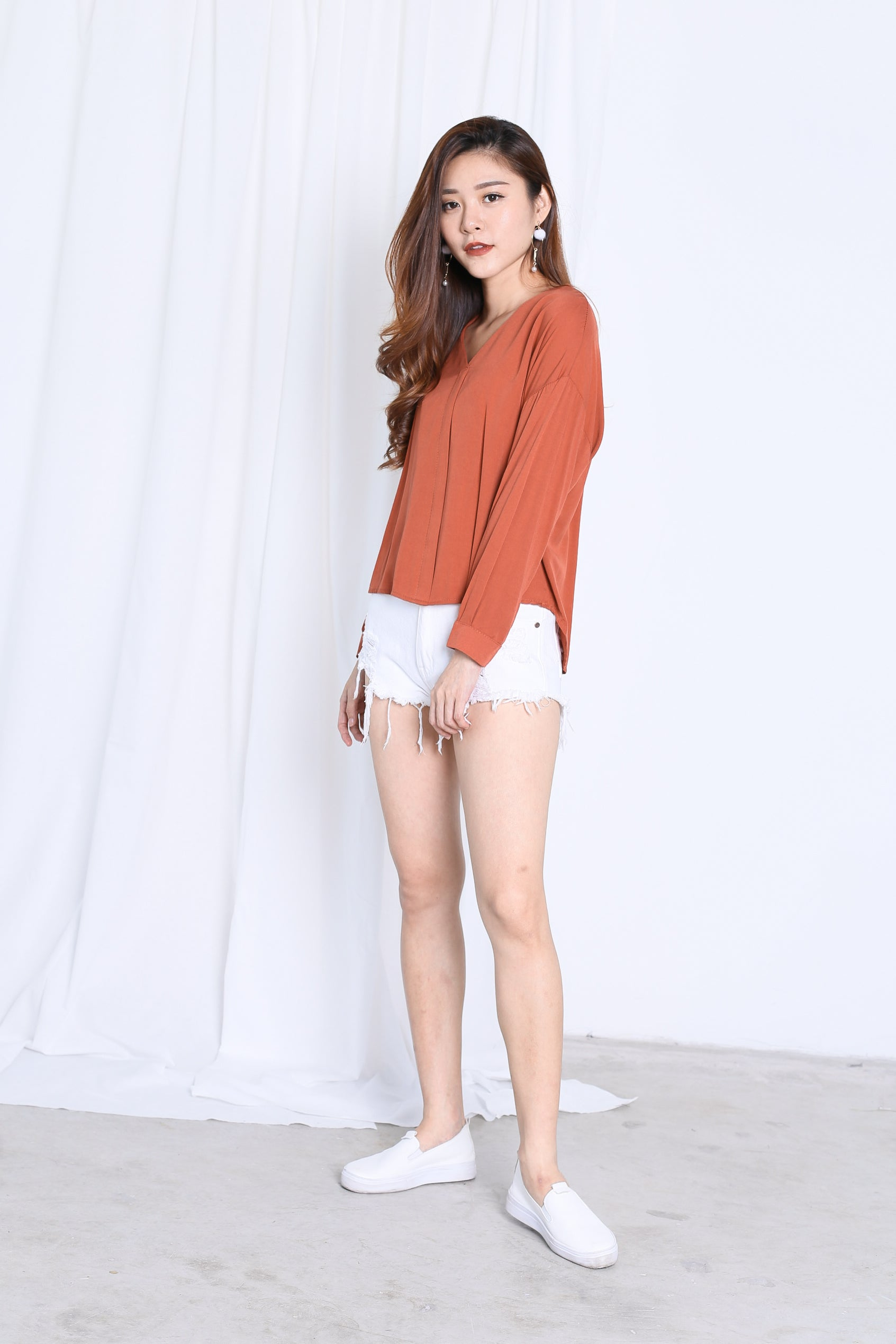 GLYNN LOOSE FIT TOP IN TERRACOTTA