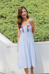 BETHEL EMBROIDERY DRESS IN CORNFLOWER BLUE