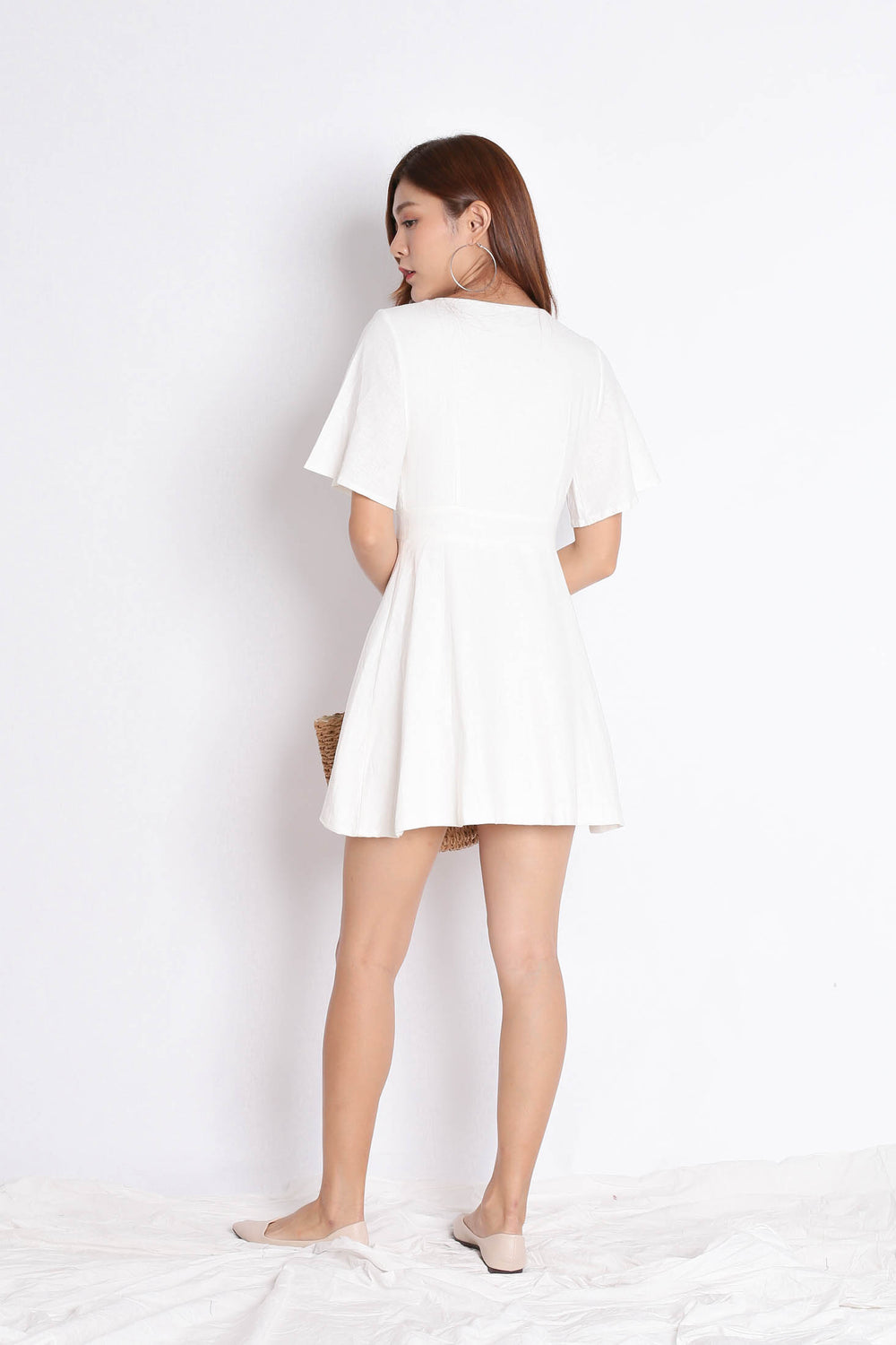 *TPZ* (PREMIUM) HEIDY LINEN DRESS IN OFF WHITE