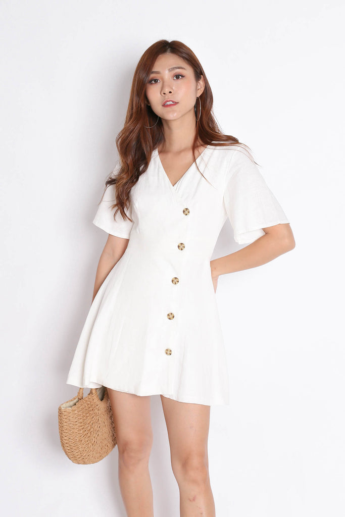 *TPZ* (PREMIUM) HEIDY LINEN DRESS IN OFF WHITE - TOPAZETTE
