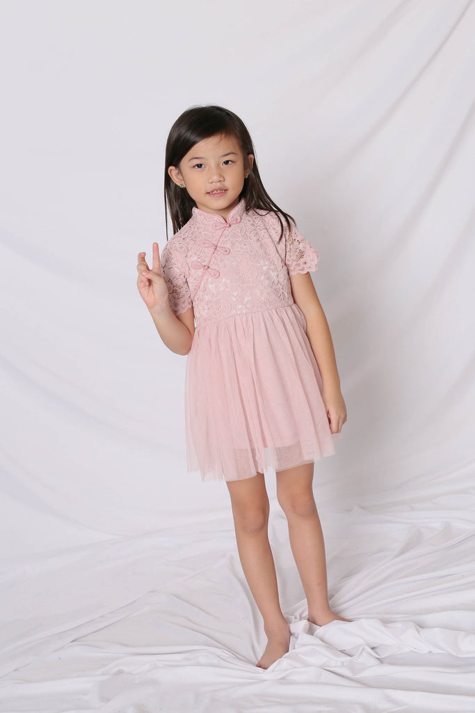 *LITTLE TOPAZETTE* HUIXIN TULLE CHEONGSAM IN DUSTY PINK