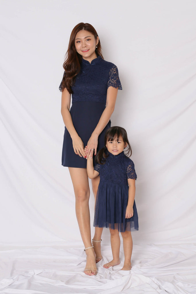 *LITTLE TOPAZETTE* HUIXIN TULLE CHEONGSAM IN NAVY - TOPAZETTE