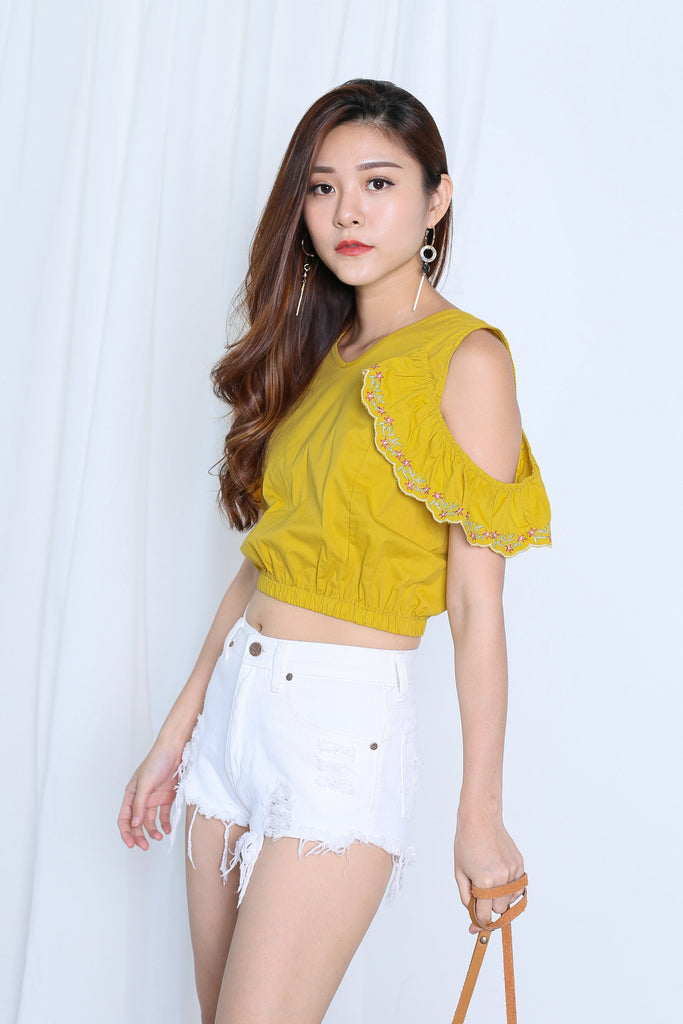 RAELY EMBROIDERY COLD SHOULDER TOP IN MUSTARD - TOPAZETTE