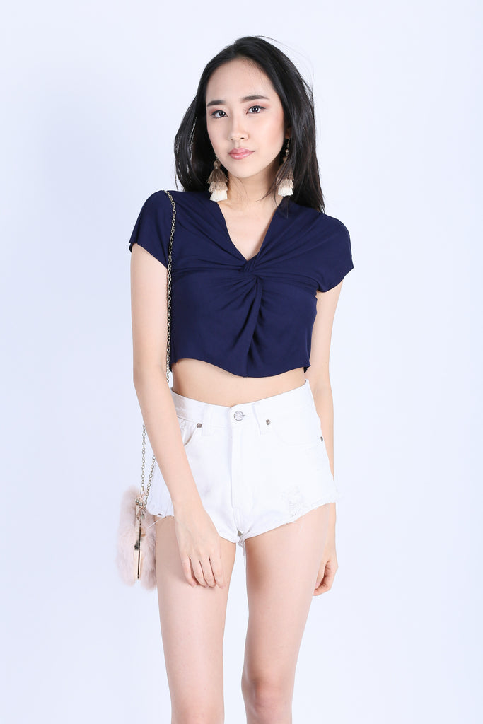 RAW EDGES TWISTED CROP TOP IN NAVY