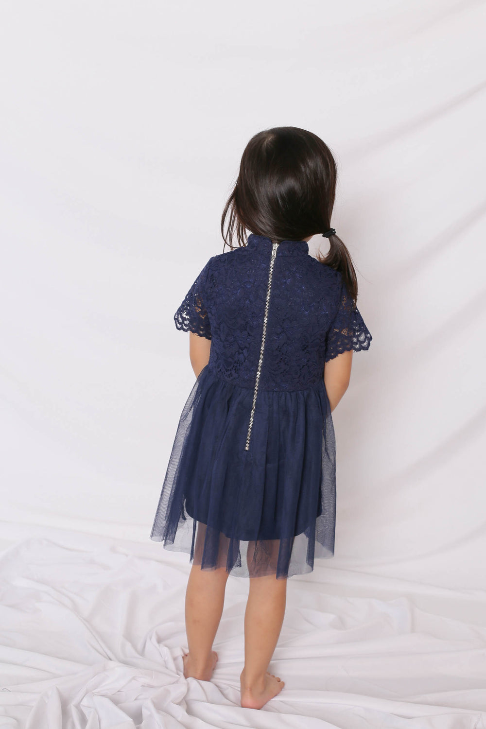 *LITTLE TOPAZETTE* HUIXIN TULLE CHEONGSAM IN NAVY