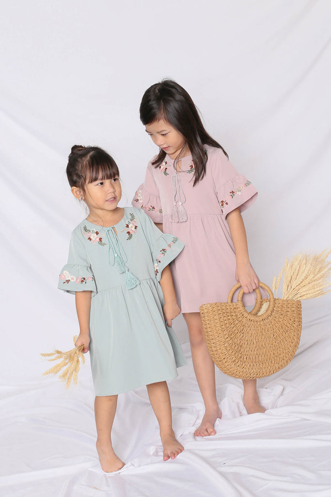 *LITTLE TOPAZETTE* GYPSY EMBROIDERY TASSEL DRESS IN MINT - TOPAZETTE