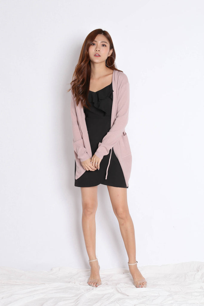 BRAE SOFT KNIT CARDIGAN IN DUSTY PINK