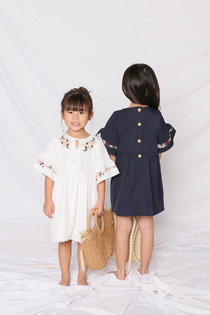 *LITTLE TOPAZETTE* GYPSY EMBROIDERY TASSEL DRESS IN NAVY - TOPAZETTE