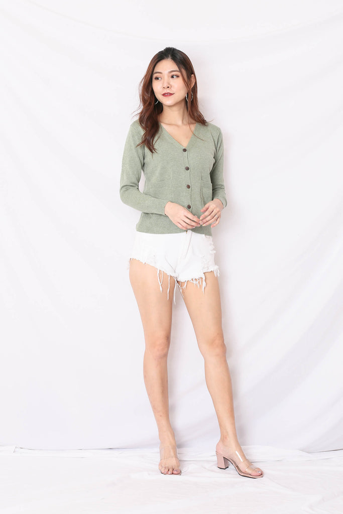 DULCE SOFT KNIT CARDIGAN IN WASHED SAGE GREEN