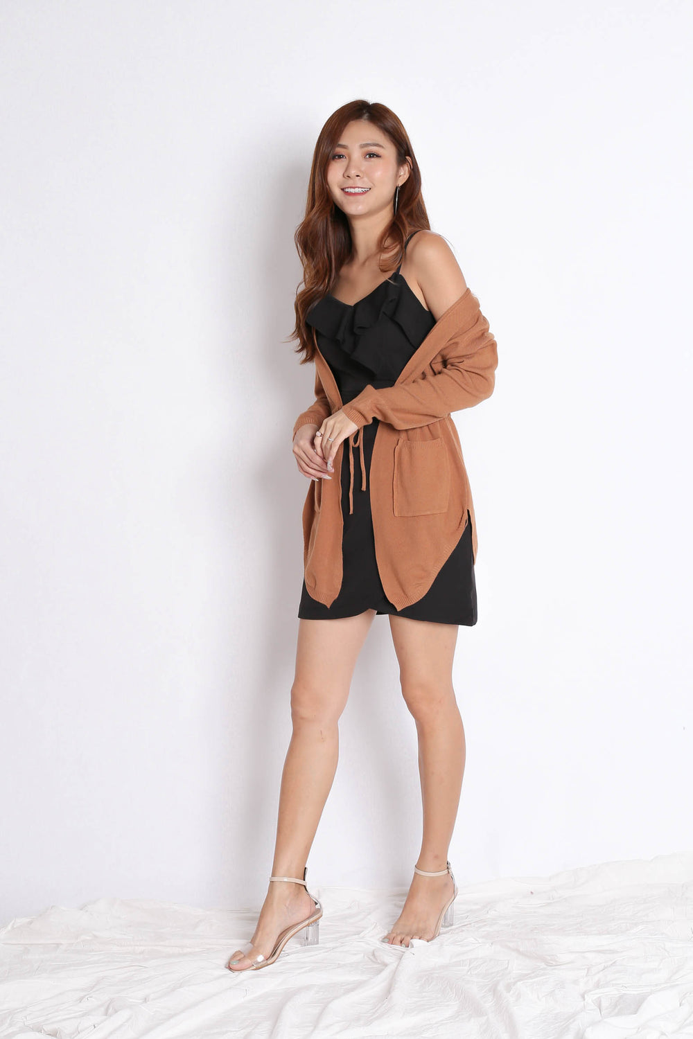 BRAE SOFT KNIT CARDIGAN IN CAMEL