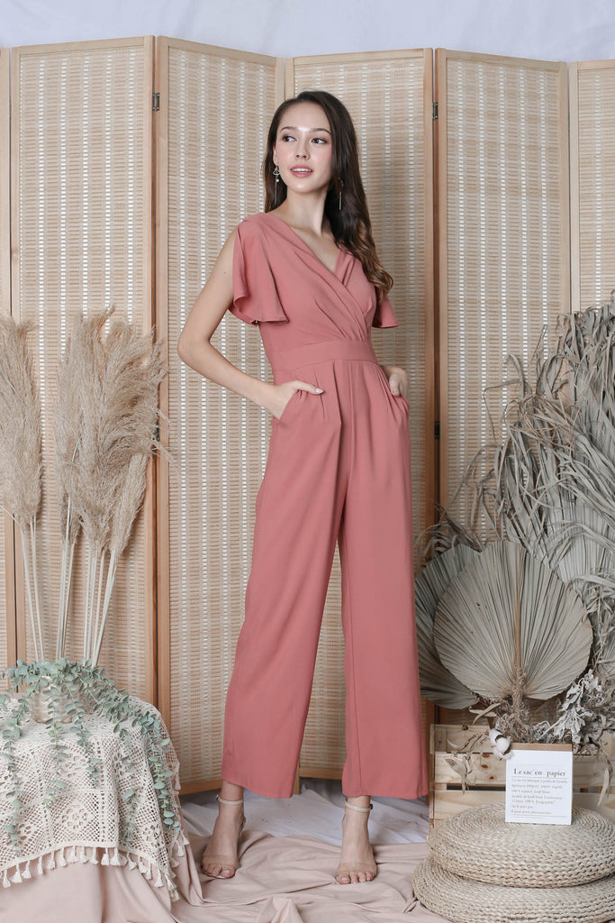 *TPZ* (PREMIUM) LISBON FLUTTER SLEEVE JUMPSUIT IN DUSTY CORAL