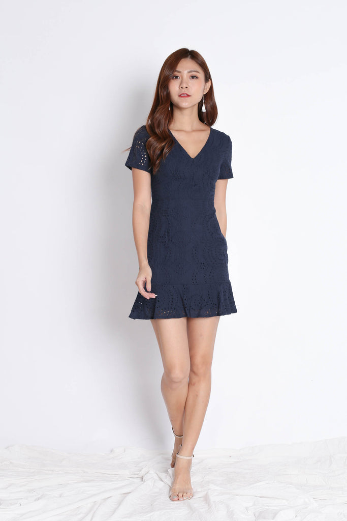 *TPZ* (PREMIUM) ALISYA EYELET DRESS IN NAVY - TOPAZETTE