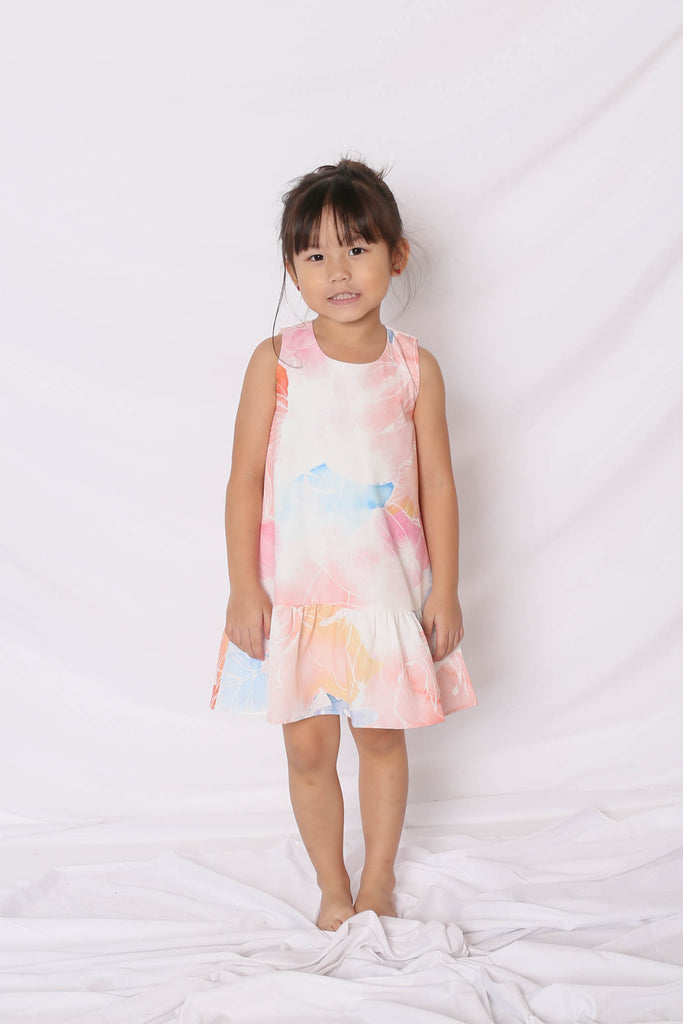 *LITTLE TOPAZETTE* SPRING BLOOM DROP WAIST DRESS