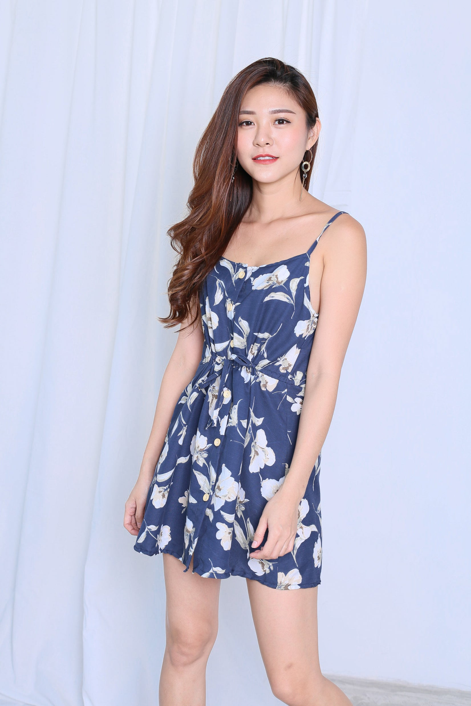FLORAL BUTTON DOWN DRESS IN NAVY