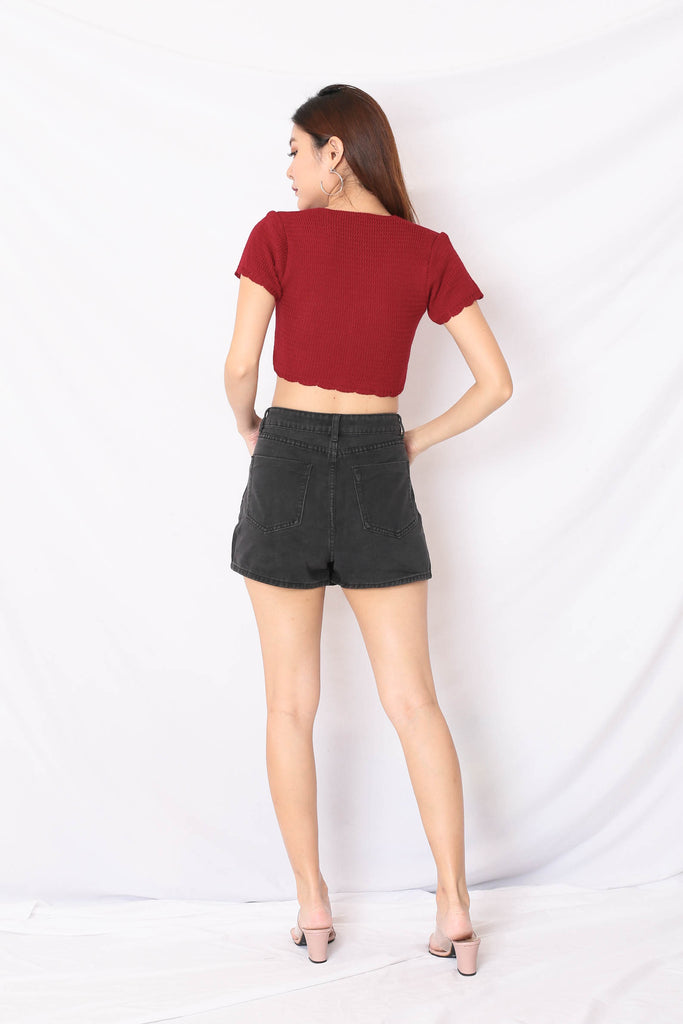 NOVA WOVEN KNIT TOP IN WINE