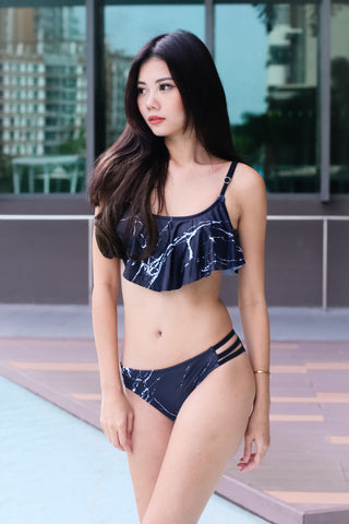 *BACKORDER* COAST TO COAST FLUTTER BIKINI SET (BLACK MARBLE)