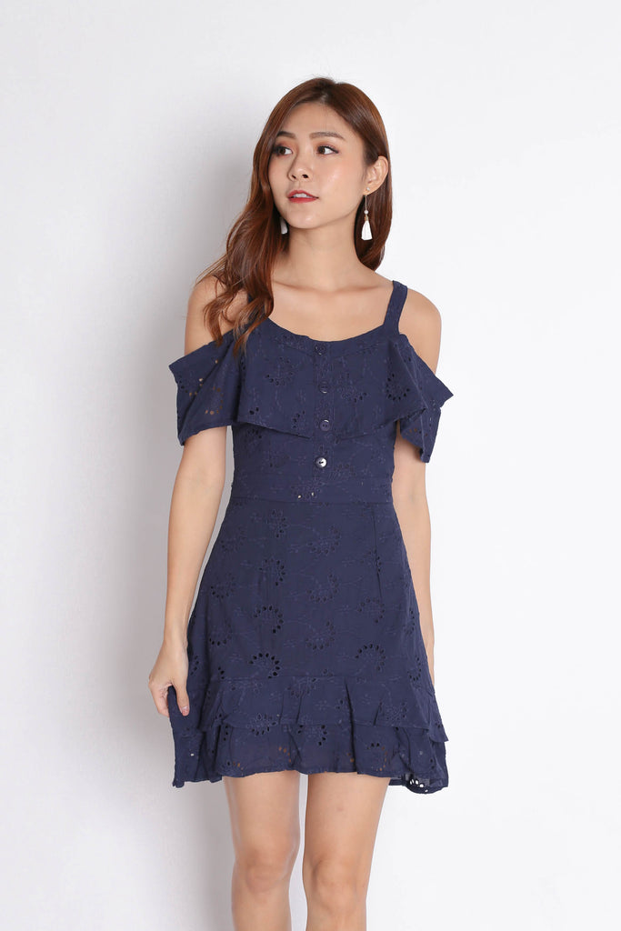 (PREMIUM) GYPSY EYELET DRESS IN NAVY - TOPAZETTE
