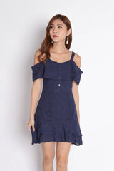 (PREMIUM) GYPSY EYELET DRESS IN NAVY