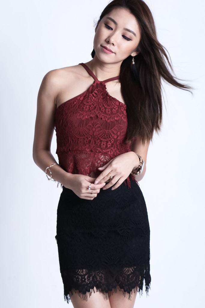 (RESTOCKED) FAITH LACE TOP IN WINE - TOPAZETTE