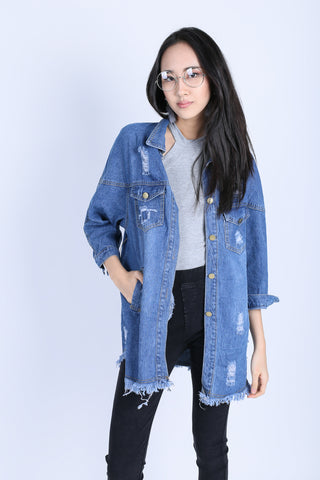 OVERSIZED FRAY BOYFRIEND JACKET (DARK DENIM)
