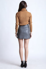 *RESTOCKED* MADE FOR YOU LEATHER SKIRT IN GREY - TOPAZETTE