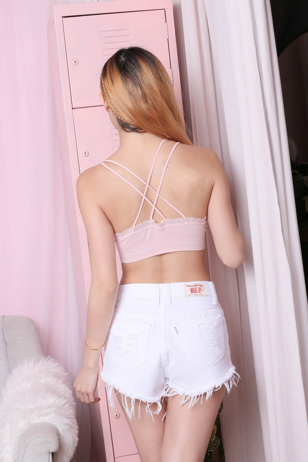 LACE COTTON CRISS CROSS BRALETTE (BABY PINK)