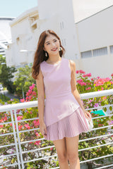 *TPZ* (PREMIUM) YEV PLEATED DRESS ROMPER IN DUSTY PINK