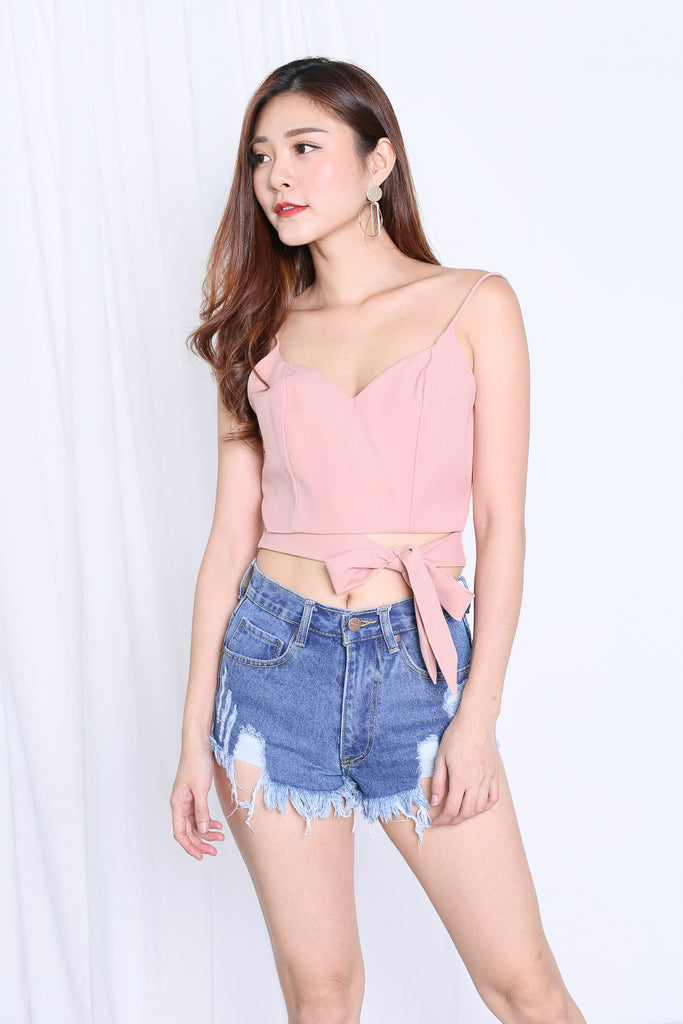 EVIA RIBBON WRAP CROP TOP IN PEACHY NUDE