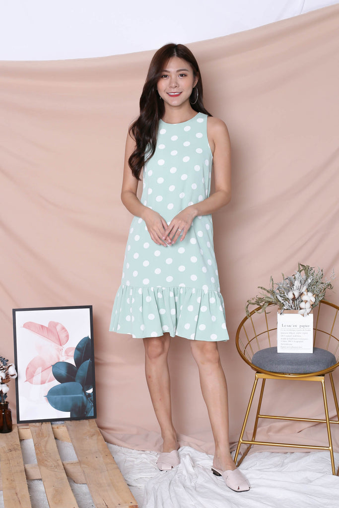 (PREMIUM) POLKA DOT DROP HEM DRESS IN SAGE GREEN - TOPAZETTE