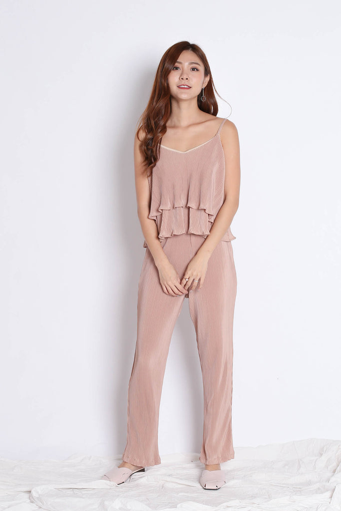 PLEATED ACCORDION 2 PC TOP + PANTS SET IN CHAMPAGNE