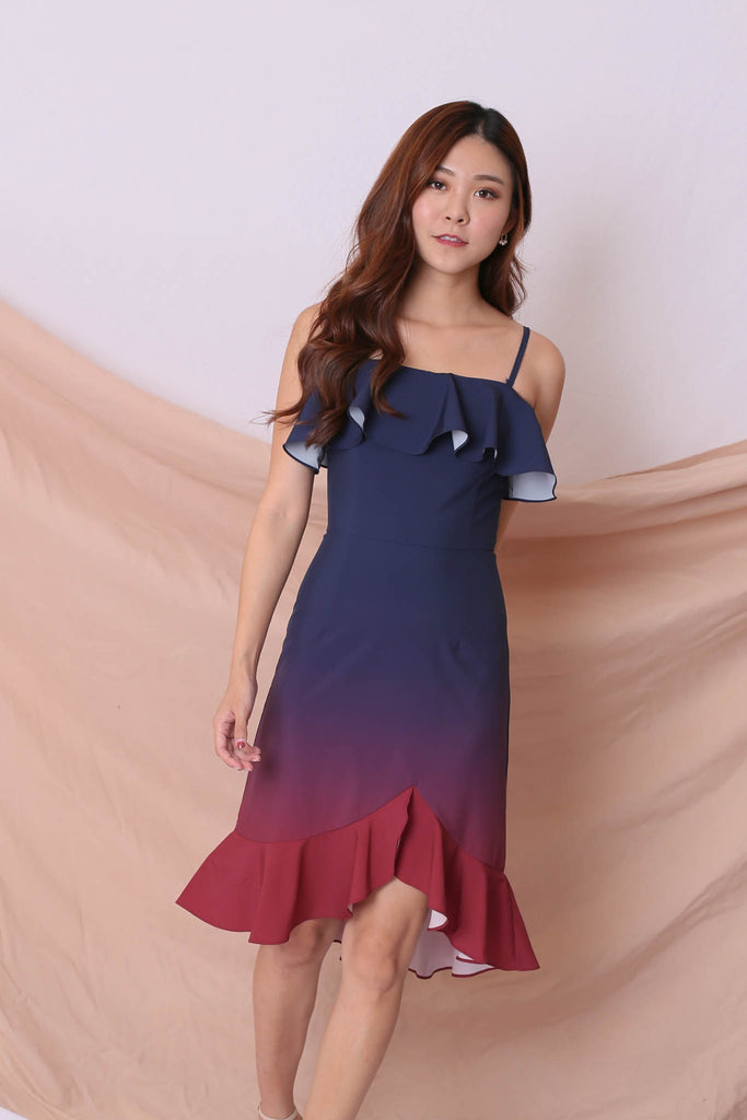 *TPZ* (PREMIUM) FRANCESCA 4 WAYS OMBRE DRESS (NAVY/ BURGUNDY) - TOPAZETTE