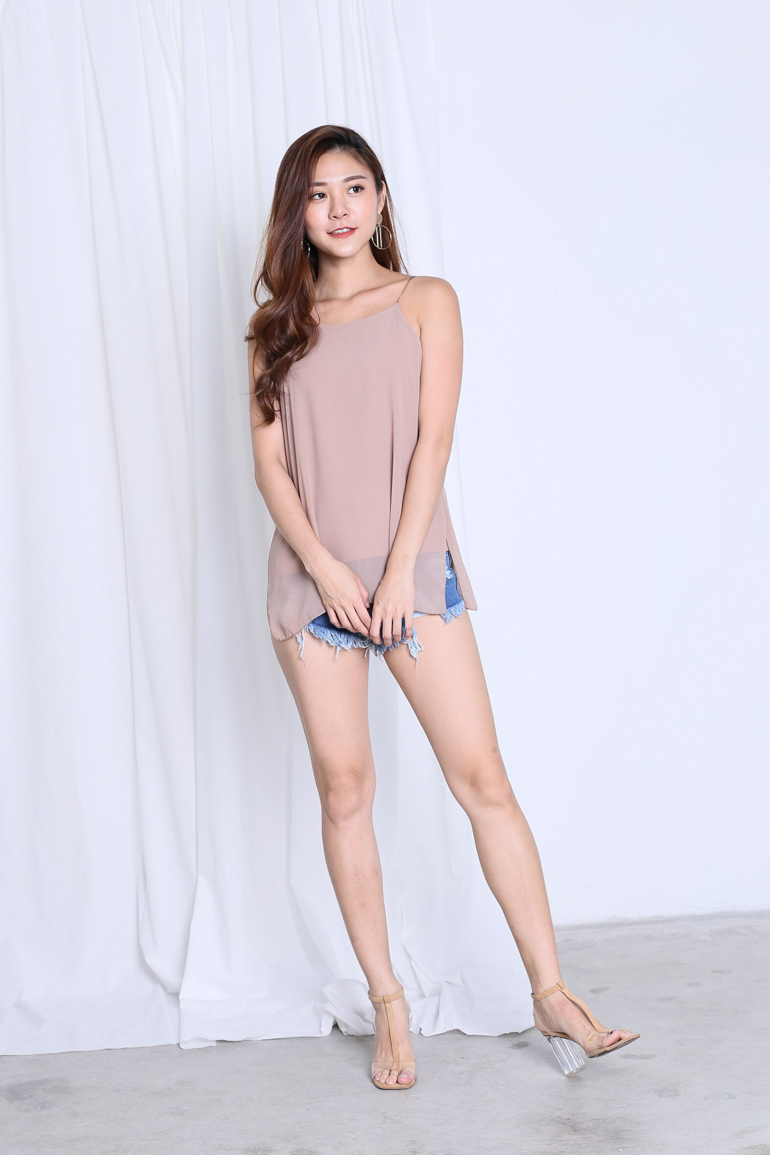 AUDREY SLIT SPAG TOP IN NUDE
