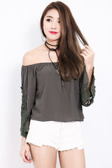 (RESTOCKED) *TOPAZ* DREAM BOHO CROCHET TOP IN OLIVE - TOPAZETTE