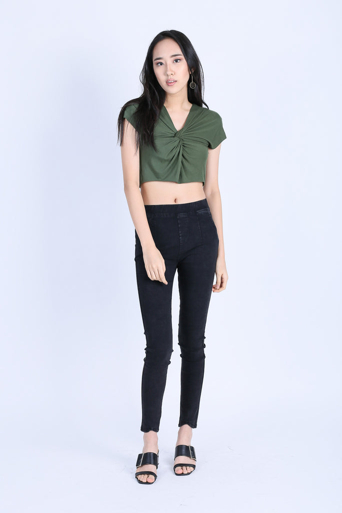 RAW EDGES TWISTED CROP TOP IN OLIVE - TOPAZETTE