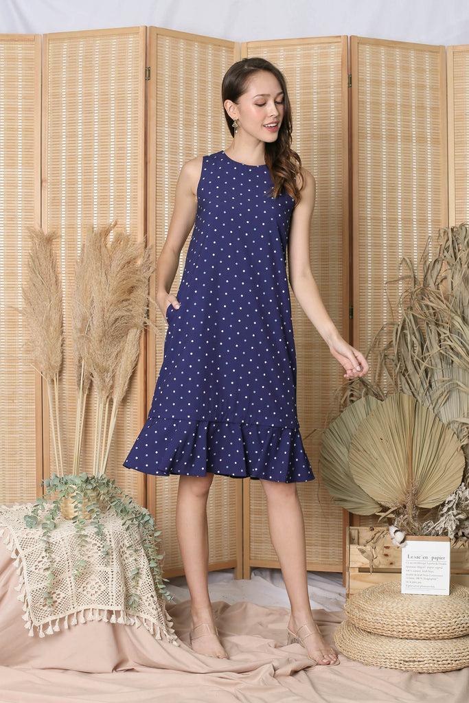 *TPZ* (PREMIUM) CORNELIA ZIPPER DRESS IN BLUE POLKA DOTS